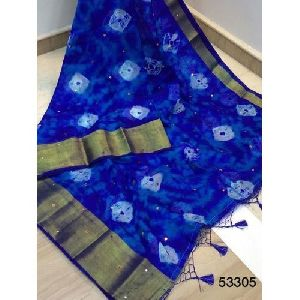 Blue Printed Silk Saree