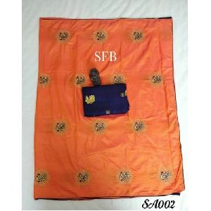 Orange Embroidered Silk Saree
