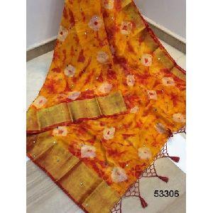 Orange Printed Cotton Silk Saree