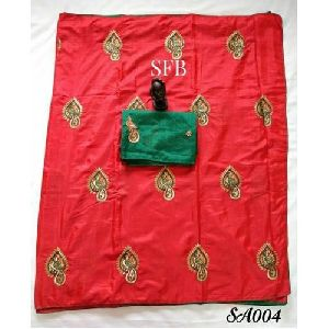 Red Color Printed Silk Saree