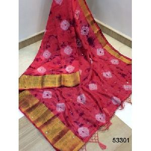 Red Printed Cotton Silk Saree