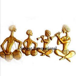 Brass Dhol Players Sculpture