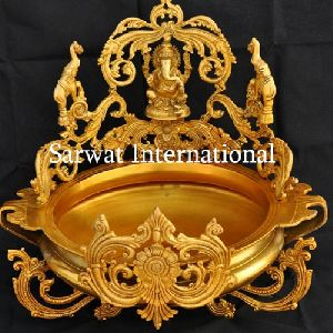 Brass Lord Ganesh Candle Floating Pot
