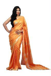 Orange Embroidered Cotton Saree