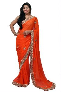Orange Heavy Border Georgette Saree