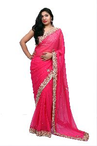 Pink Heavy Border Georgette Saree