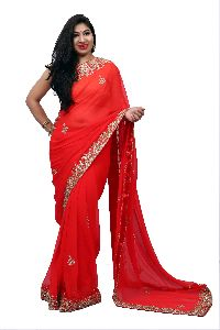 Red Heavy Border Georgette Saree