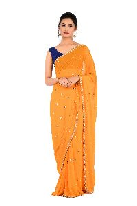 Yellow Embroidered Georgette Saree