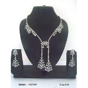 100% Pure American Diamond Necklace Set