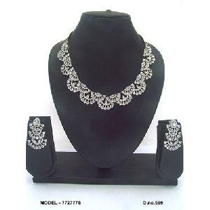 Beaded American Diamond Necklace Set