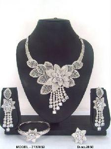 Fancy Flower Design Diamond Jewellery Set