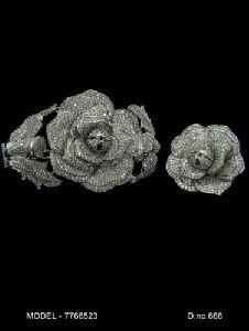 Flower Shaped American Diamond Earrings