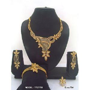 Golden American Diamond Jewellery Set