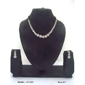 Golden American Diamond Necklace Set
