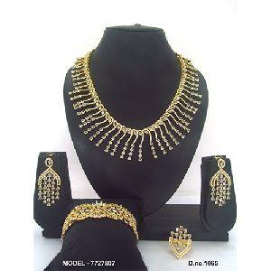 Golden Artificial Diamond Jewellery Set