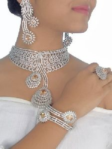 Silver Diamond Jewellery Set