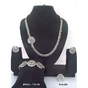Silver Plated American Diamond Jewellery Set