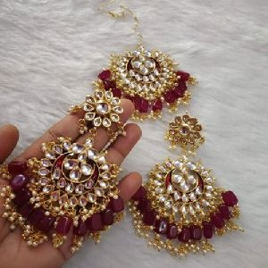 Beaded Earrings Maang Tikka Set