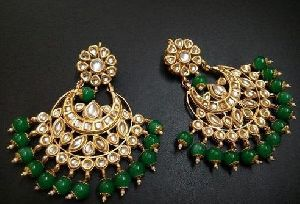 Beaded Imitation Kundan Earrings