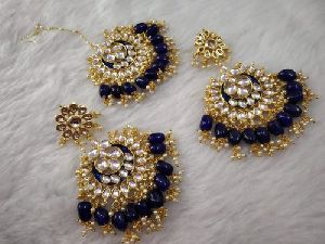 Designer Earrings Maang Tikka Set