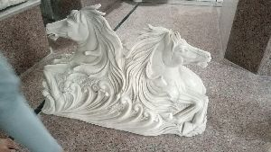 Marble Horse Head Statue