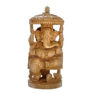 Wooden Lord Ganesha Statue