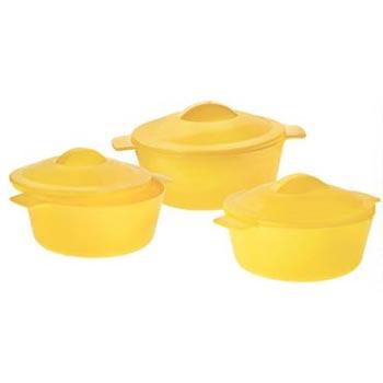 3 Pieces Microwavable Plastic Serving Bowl Set
