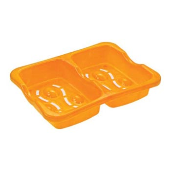 Twin Yellow Plastic Soap Case