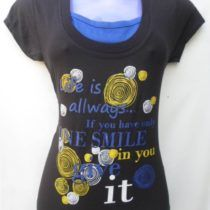 Black & Blue Printed Cotton Top