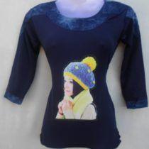 Black Pretty Girl Print Cotton Top