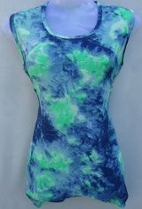 Blue & Green Color Printed Top