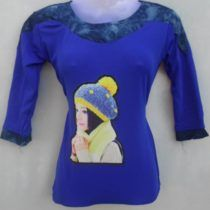 Dark Blue Pretty Girl Print Cotton Top
