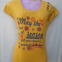 Dark Yellow Printed Cotton Top