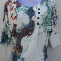 Feather Print Cotton Top