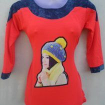 Red Blue Pretty Girl Print Cotton Top
