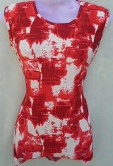 Red & White Printed Top