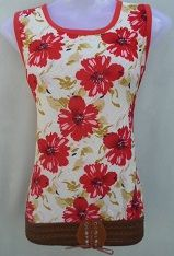 White with Red Flower Print Top