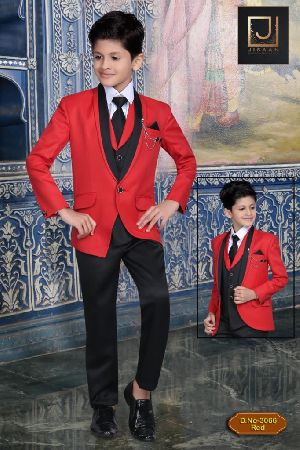 DN-3066-Red Boys Coat Pant