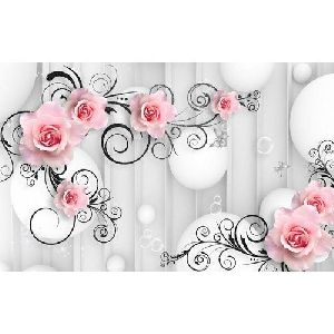 PVC Flower Wallpaper