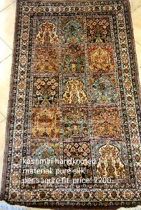 Kashmiri Hand Knotted Silk Carpet