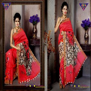 Digital Print Linen Saree