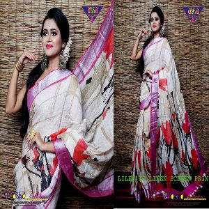 Linen By Linen Screen Print Sarees