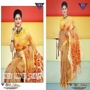 Silk Linen Jamdani Sarees 01