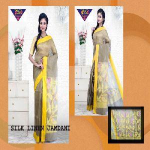 silk linen jamdani sarees 04