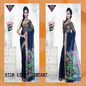 silk linen jamdani sarees 05