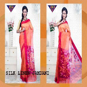 silk linen jamdani sarees 06