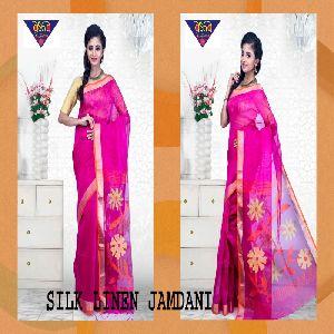 silk linen jamdani sarees 07