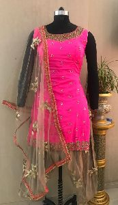 Ladies Pink Handwork Salwar Suit