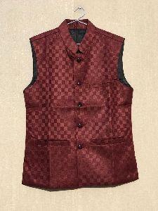 Mens Checkered Maroon Waistcoat