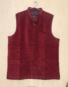 Mens Plain Maroon Waistcoat
